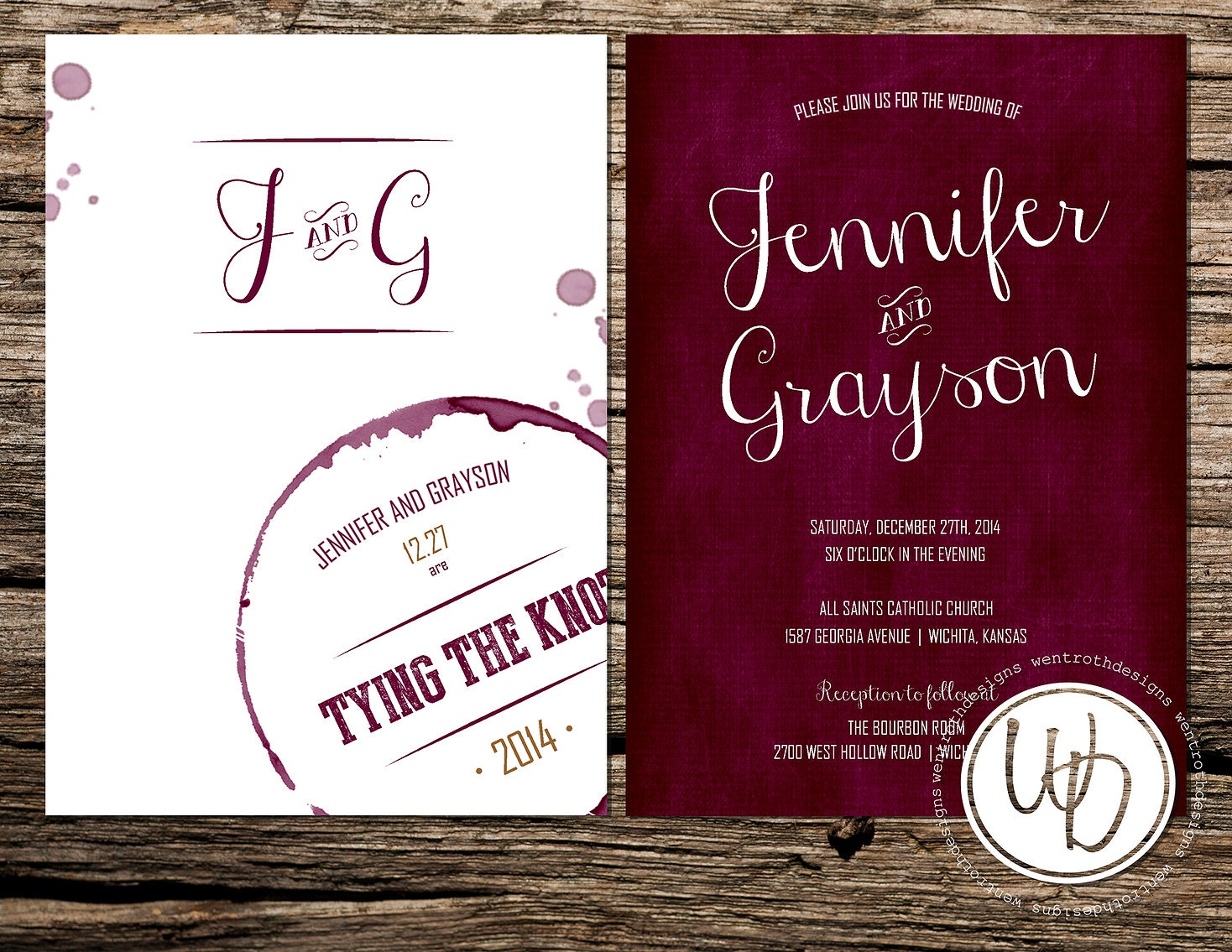 Marsala Wedding Invitation Wine Wedding Invitation Merlot