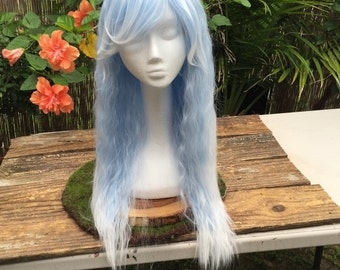 Icy Pale Blue and White Ombre Lolita Fluffy Curly Costume, Cosplay wig