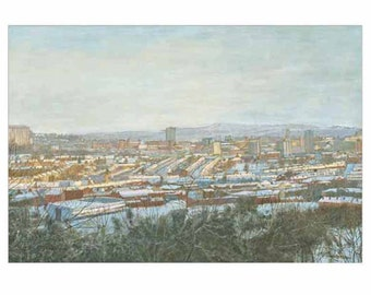 Sheffield in the Snow, View from Meersbrook Park - Christmas card (Also available as blank card) with envelope