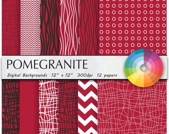 digital paper digital paper pack digital paper scrapbook paper scrapbook paper pack paper digital commercial use 12pk pomegranite red
