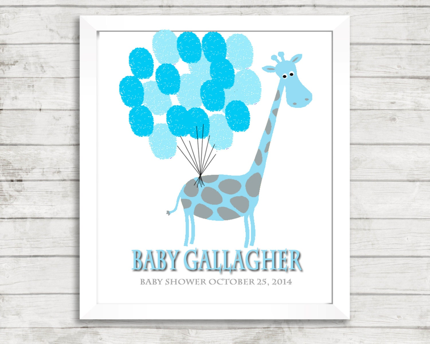 fingerprint tree baby shower giraffe baby shower blue gray