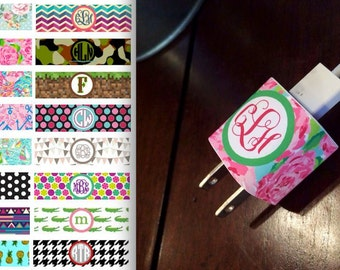 Monogrammed iPhone Charger Wrap