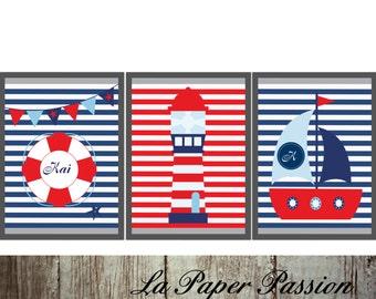 Nautical prints, Boys Prints, Nursery prints, Boys wall art, Custom Colors, Custom name