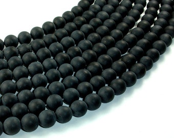 Matte Black Onyx Beads, Round, 10mm, 15 Inch, Full strand, Approx 38 beads, Hole 1 mm, A quality (140054011)