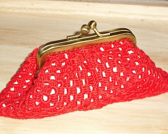 coin purse crochet handmade - nice brass buckle