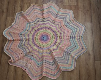 Large Lacey Round Ripple Crochet Blanket, soft star blanket pastel colours afghan lap blanket baby - adult