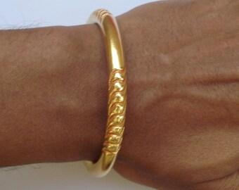 vintage antique gold vermeil gold gilded bangle bracelet cuff old tribal jewelry
