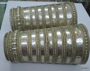 vintage antique tribal old silver cuff bracelet bangle belly dance jewelry india