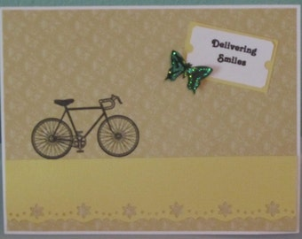 Handmade Friendship Card Bicycle Butterfly