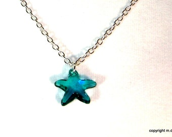 Sterling and Crystal Starfish necklace Swarovski crystal blue sterling silver chain Summer necklace beach jewelry star fish delicate choker
