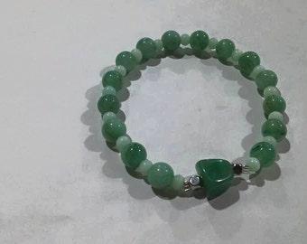Green aventurite & mint cat eye bracelet