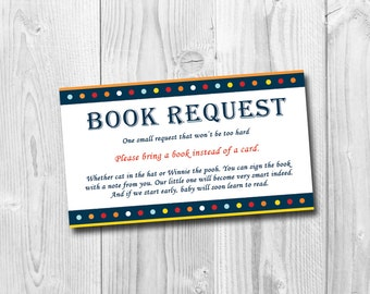 Bring a book instead of a card / bring a book baby shower insert / book request / blue book request / PDF / INSTANT DOWNLOAD