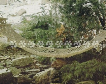 Vintage Macrame Pattern 1970's how to make A 7' Macrame Hammock by A PDF for Immediate Digital Delivery