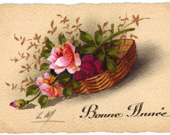 """Hand-Painted Vintage French Postcard from 1920s, Basket of Roses: """"Bonne Année"""""""