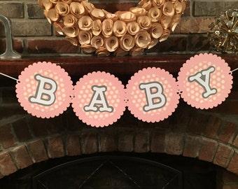Pink polka dot baby banner