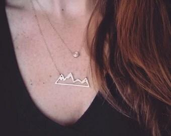 Mountain necklace gold or silver; Mountain jewelry; Mountain layering necklace; Mountain range necklace; Mountains are Calling