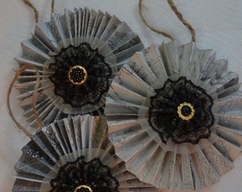 Paper and Lace, Vintage Style Ornament Set of 3 (A125)