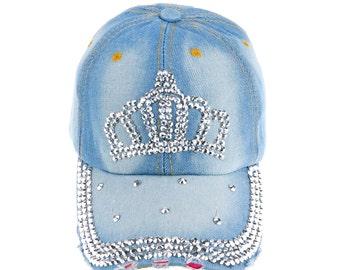 Three Row Rhinestone Glued Brim Crown Light Blue Denim Jeans Baseball Caps Hats for Summer