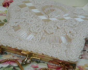 Vintage Beaded Purse Cream with Gold Tone Frame