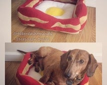 Bacon and Eggs Custom Pet Bed Handmade for dogs cats animals original and unique