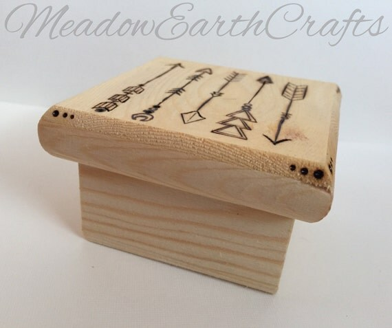 Wooden Box Jewelry Box Wedding Favors Wood Burn Pyrography Art Arrows Design Best Stocking