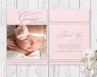 Pink Photo Birth Announcement Baby Girl | Printed On Luxe Cardstock