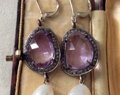 Special 10 days! GORGEOUS ANTIQUE VERY  Important earrings - Genuine Rose Cut Diamonds - Heavy natural amethyst- Huge baroque pearls