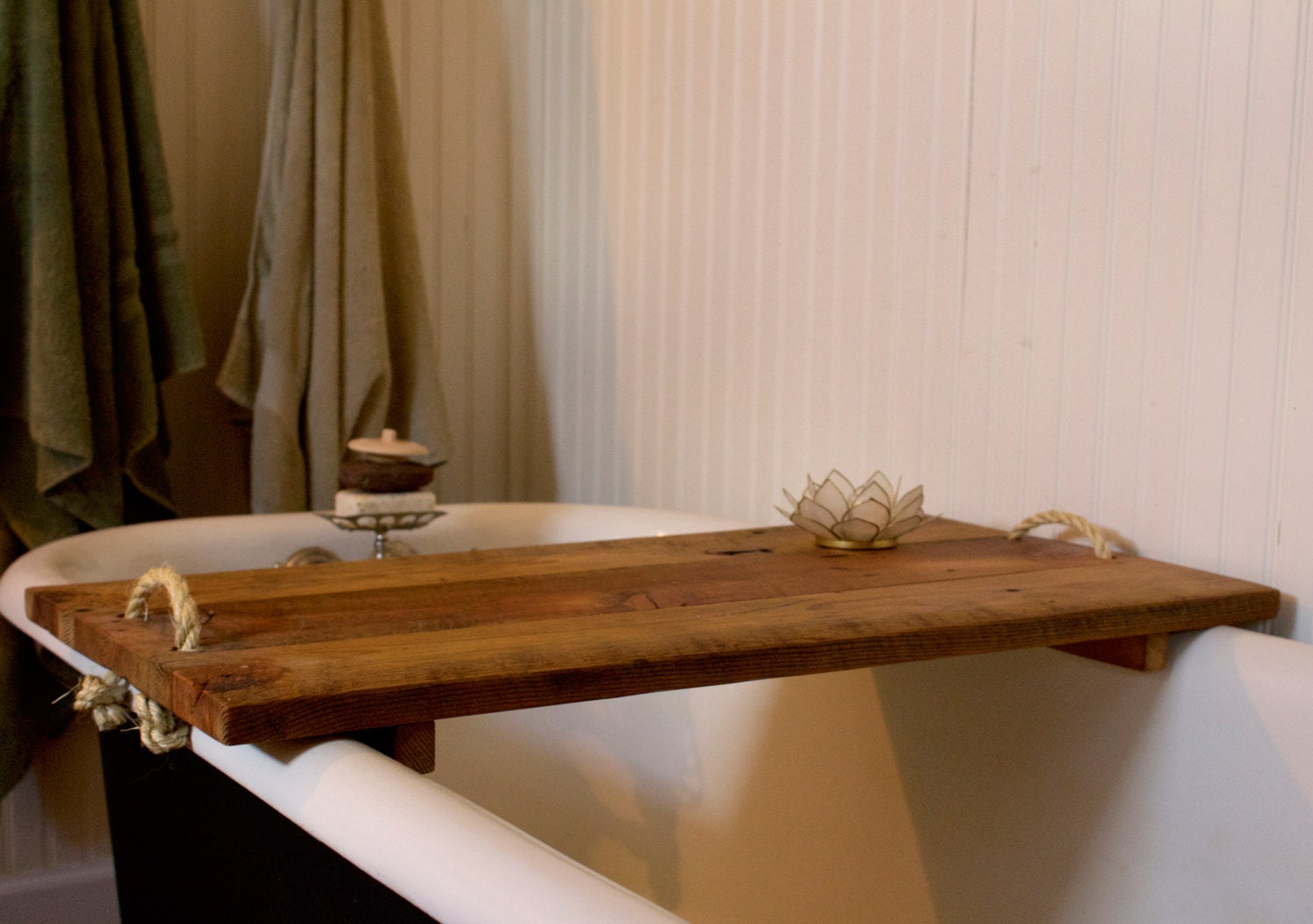 reclaimed wood bath table