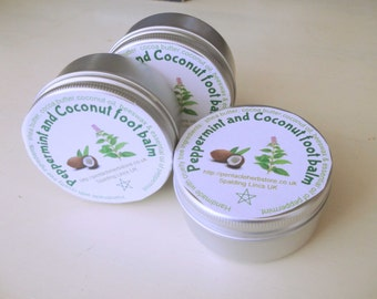 Peppermint and coconut foot balm