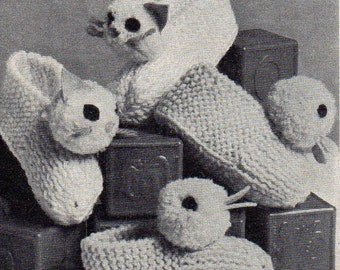 Knit cat and duck kids slippers (vintage)