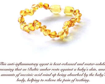 Leamon beads Baltic Amber Anklet Each Amber bead is tested 100% authentic, Baltic Amber Baby Teething Anklet