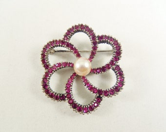 Red Crystal and Pearl Open Flower Pin