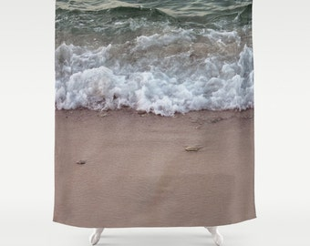 wave on beach shower curtain curtain