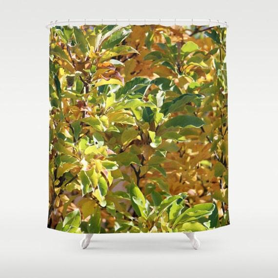 Fall Leaves Shower Curtain Green OrangeFallBath