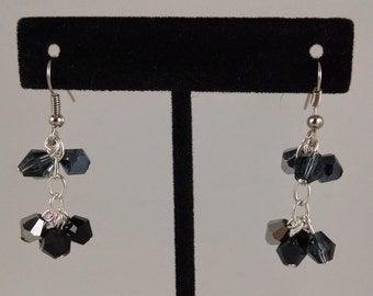 Black and Silver Crystal Cluster Dangles By Sparrow Sku 03