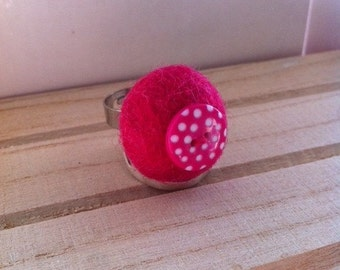 Handmade Bright Pink Felt Ring with Pink Polka Dot Button