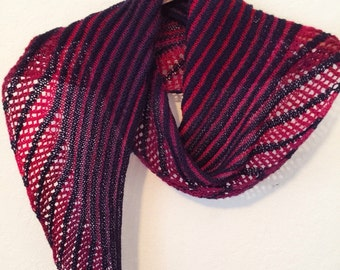 Hand knit asymmetrical lace navy and red scarf Striped nautical shawl one of a kind