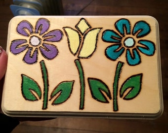 Handmade Flower Woodburning With a Splash of Color