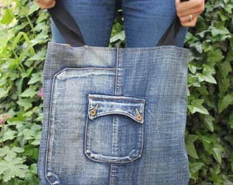 Double Sided Bag / Flower Tote Bag / Colorful Market Bag / Recycled Denim Bag / Big Tote bag