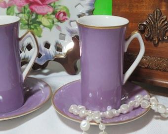 Purple Espresso / Demitasse Cups and Saucers - Set of 2 / Fine China