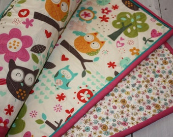 Baby girl quilt, owl baby quilt, modern baby quilt, handmade soft designer baby girl pinks, owls, floral.  Timeless gift for baby and mom