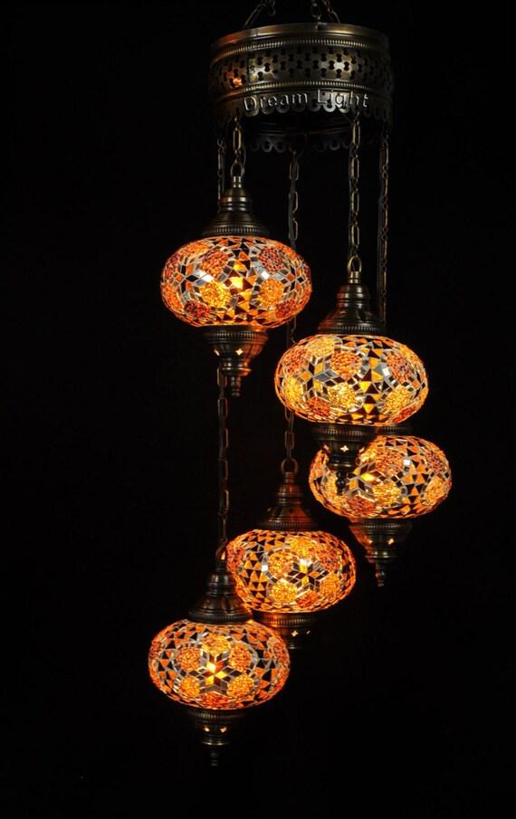 Spirale 5 boules lampe suspension lampe de par dreamlightbazar for Lampe boule suspension