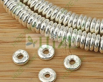 HIZE SB361 Thai Karen Hill Tribe Silver Donut Disc Ring Spacer Beads 6mm (34)