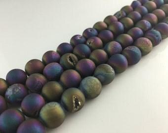 Rainbow Druzy Beads Titanium druzy Agate beads Metallic Agate Round Druzy Drusy Geode bead Supplies 8-10-12-14mm Gemstone Loose beads DAB