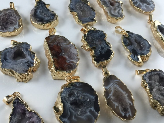 Wholesale agate druzy pendant agate slice druzy geode pendant like this item mozeypictures Gallery