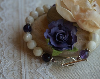 Mother of Pearl and Amethyst Bracelet #1000B