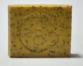 GERANIUM OLIVE SOAP   exfoliating soap bar geranium oil with  popy seed  organic soap Homemade Soap Bar