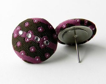 SPACE CADET-purple and brown fabric button earrings