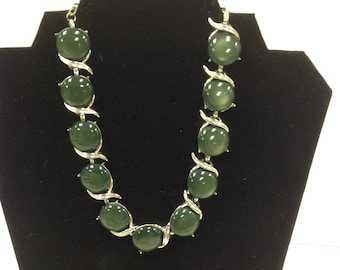 Vintage Silvertone and Loden Green Choker Style Necklace