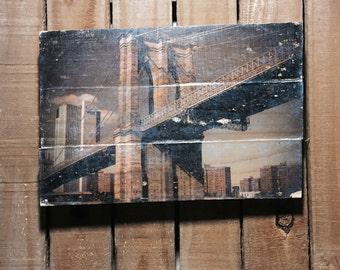Brooklyn Bridge Photo on Wood - NYC Wall Art - NYC Photograph - New York Art - New York Wall Art - 11x17 - Wood Wall Art - New York Picture